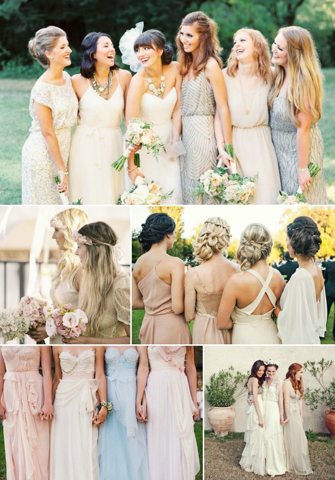 Bridesmaid dress different styles same colour