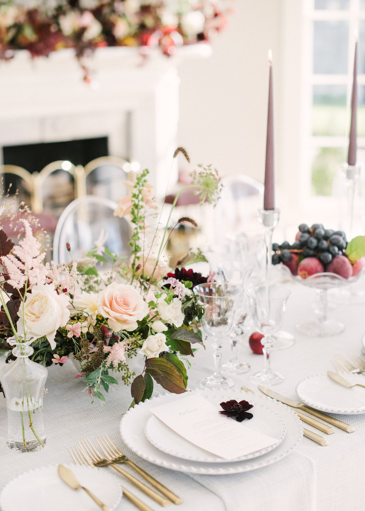 Wedding table place setting at English countryside venue Holywell Hall